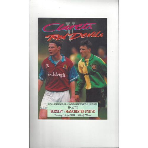Burnley v Manchester United Lancashire Youth Cup Final Football Programme 1994