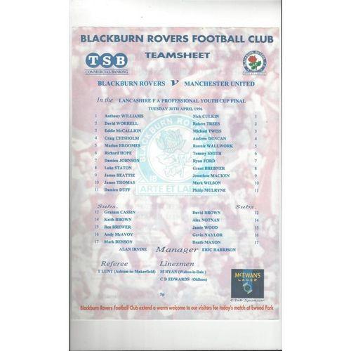 Blackburn v Manchester United Lancashire Youth Cup Final Football Programme 1996