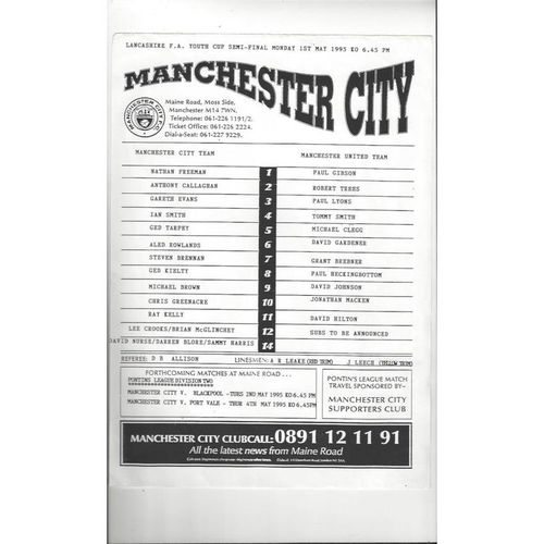 Manchester City v Manchester United Lancashire Youth Cup Semi Final 1994/95