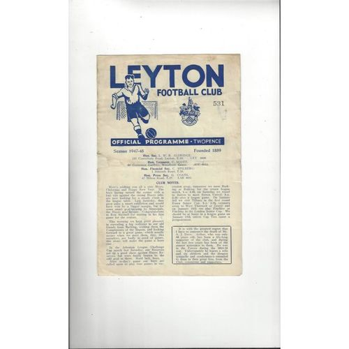 1947/48 Leyton v Barking Football Programme