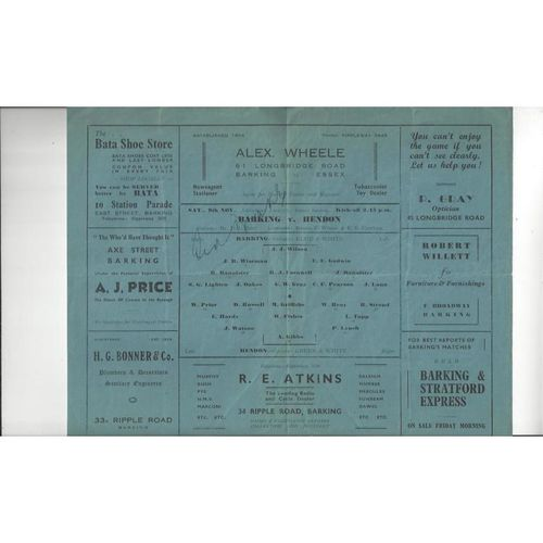 1946/47 Barking v Hendon Football Programme