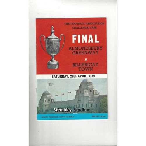 1979 Almondsbury Greenway v Billericay Town FA Vase Final Football Programme