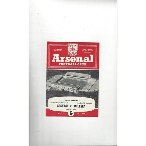1961/62 Arsenal v Chelsea Football Programme