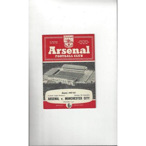 1961/62 Arsenal v Manchester City Football Programme