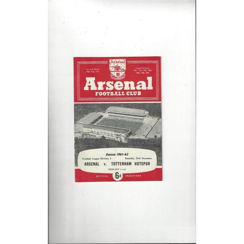 1961/62 Arsenal v Tottenham Hotspur Football Programme