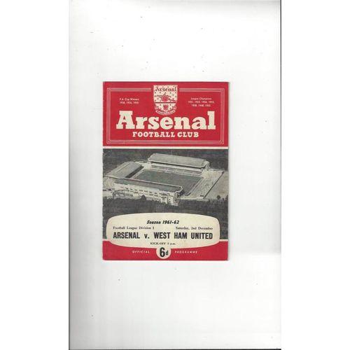 1961/62 Arsenal v West Ham United Football Programme