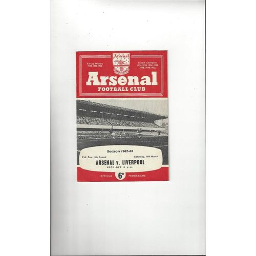 1962/63 Arsenal v Liverpool FA Cup Football Programme