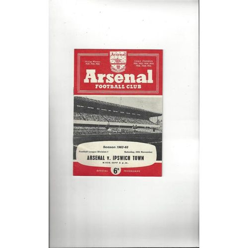 1962/63 Arsenal v Ipswich Town Football Programme