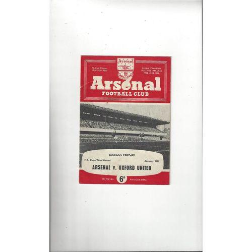 1962/63 Arsenal v Oxford United FA Cup Football Programme