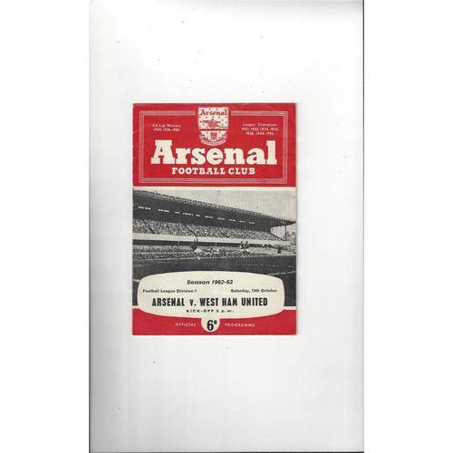 1962/63 Arsenal v West Ham United Football Programme