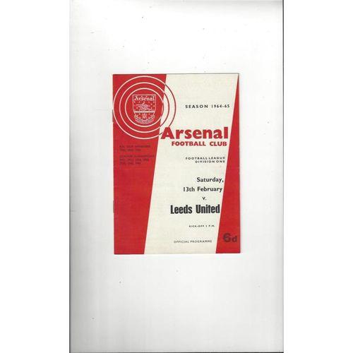 1964/65 Arsenal v Leeds United Football Programme