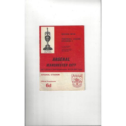 1967/68 Arsenal v Manchester City Football Programme