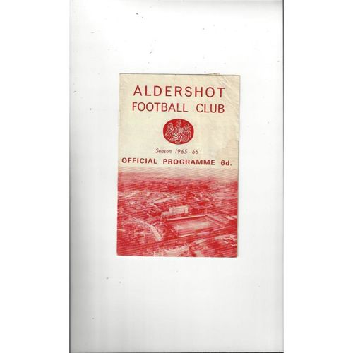 1965/66 Aldershot v Hartlepool United Football Programme