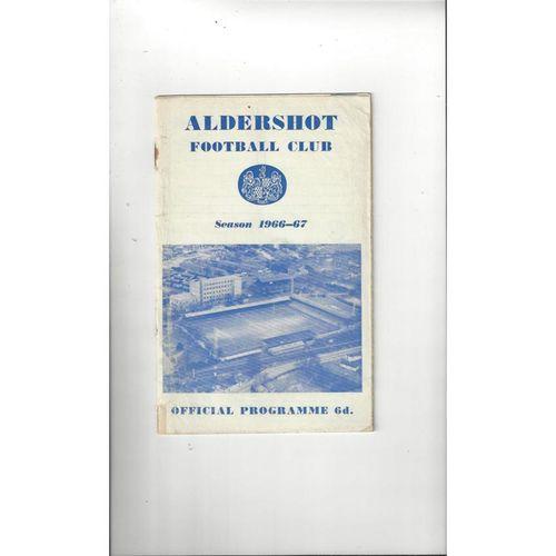 1966/67 Aldershot v Reading FA Cup Football Programme