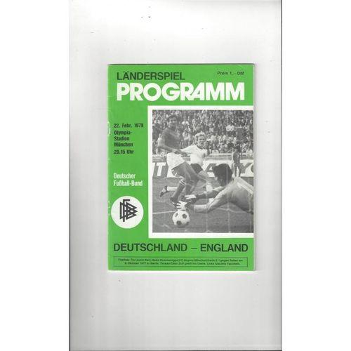 1978 West Germany v England Football Programme