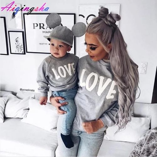 0290d5cbc5f Family Sweaters LOVE Sweatshirts for 2018 Autumn Winter Mommy and Me Mother  Daughter Clothes Family Clothing