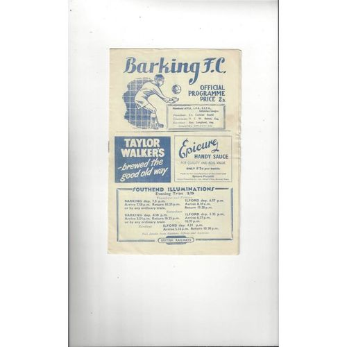 1953/54 Barking v Erith & Belvedere FA Cup Football Programme