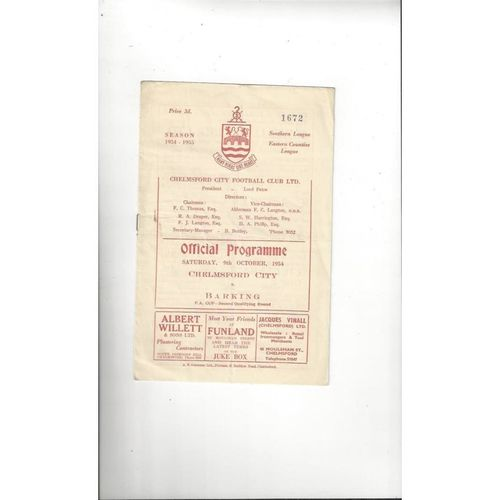 1954/55 Chelmsford City v Barking FA Cup Football Programme