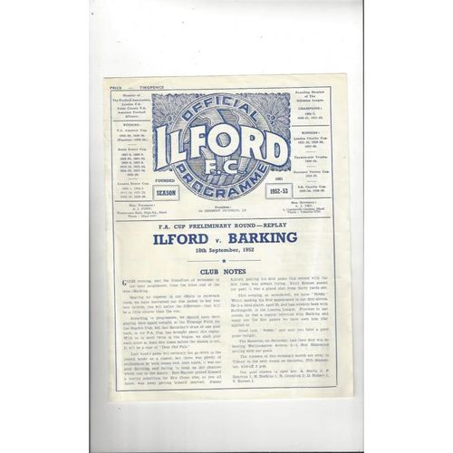1952/53 Ilford v Barking FA Cup Replay Football Programme