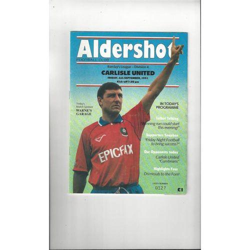 1991/92 Aldershot v Carlisle United Football Programme
