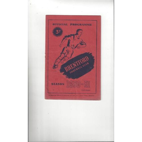 1950/51 Brentford v Preston Football Programme
