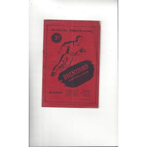 1951/52 Brentford v Blackburn Rovers Football Programme