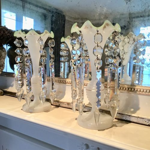 Pair of Victorian milk glass and crystal table lustres