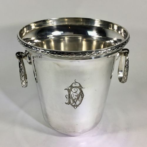 French silver plated champagne wine bucket cooler