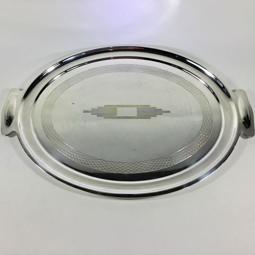 Engine turned Art Deco silver plated cocktail tray