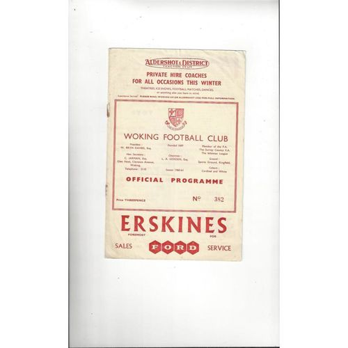 1960/61 Kingstonian v Walton & Hersham Surrey Senior Cup Semi Final Football Programme @ Woking