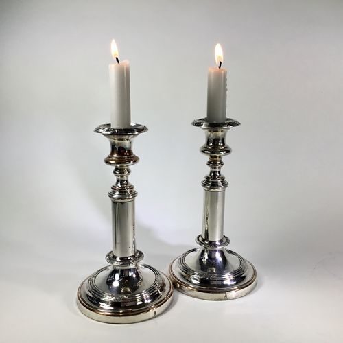 Pair of telescopic silver plated candlesticks