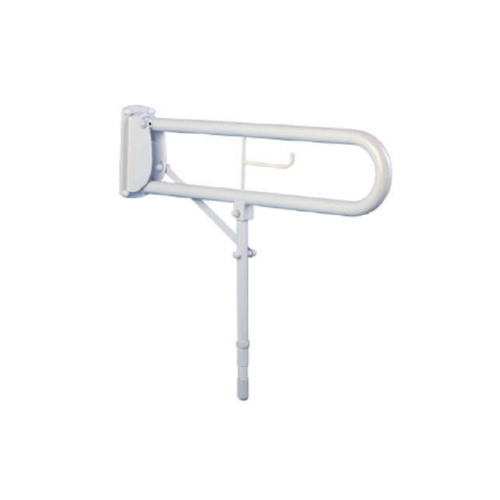 Hinged Arm Support With Leg and Toilet Roll Holder White