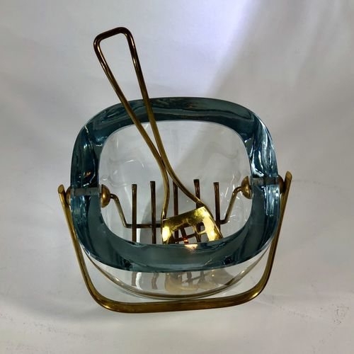 Stunning Mid 20th Century glass and brass ice bucket