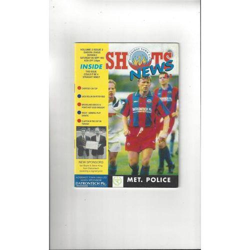 Aldershot v Met. Police Football Programme 1993