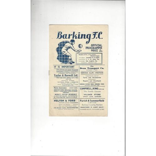 1951/52 Barking v Yarmouth Town Football Programme