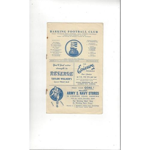 1957/58 Barking v Clapton Football Programme