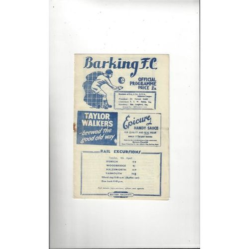 1953/54 Barking v Ilford Football Programme