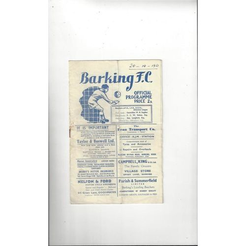 1951/52 Barking v Finchley Football Programme