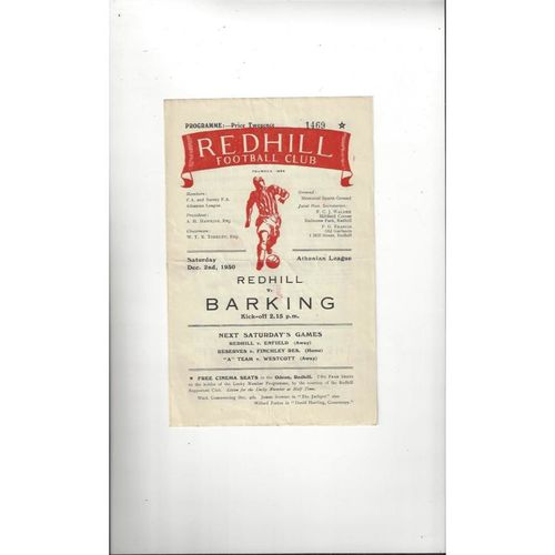 1950/51 Redhill v Barking Football Programme