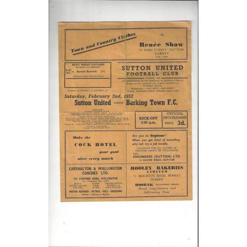 1951/52 Sutton United v Barking Football Programme
