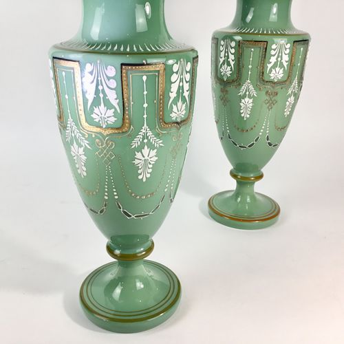Pair of Victorian opaline, gold and enamel table lamps