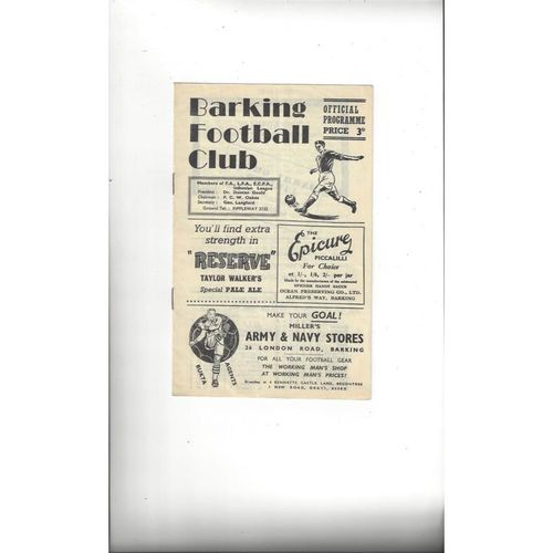 1955/56 Barking v Brentwood & Warley Amateur Cup Replay Football Programme