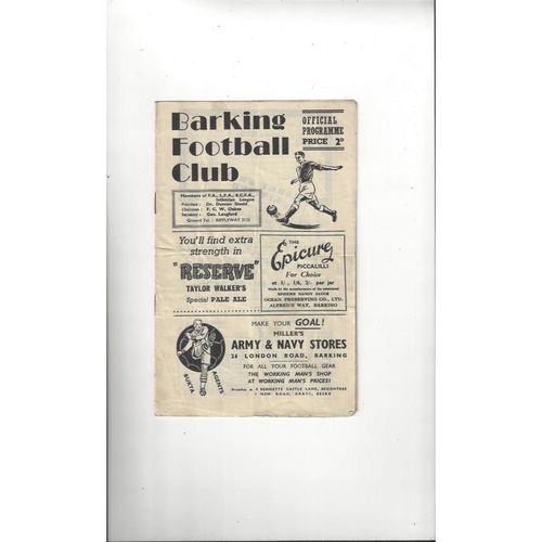 1955/56 Barking v Tilbury Amateur Cup Replay Football Programme