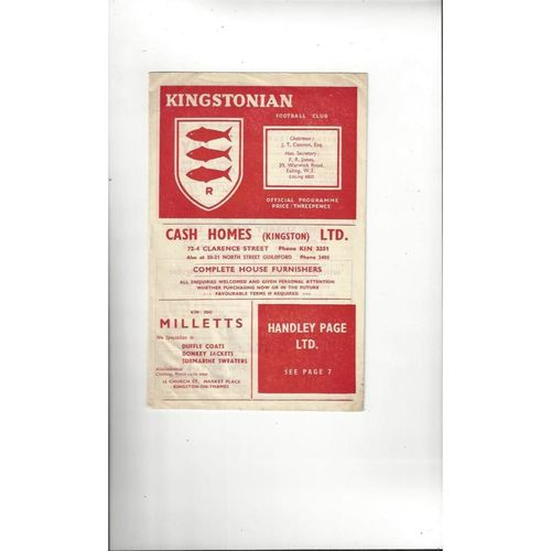 1956/57 Kingstonian v Hayes Amateur Cup Football Programme