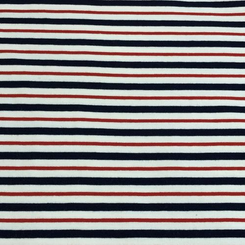 White, Navy and Red Striped Looped Back Jersey