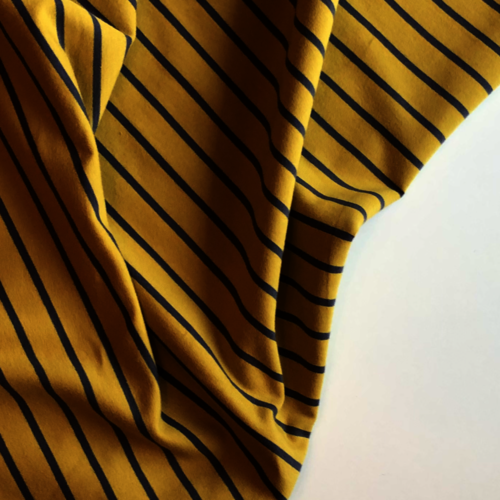 Grey Striped Mustard Yellow Looped Back Jersey