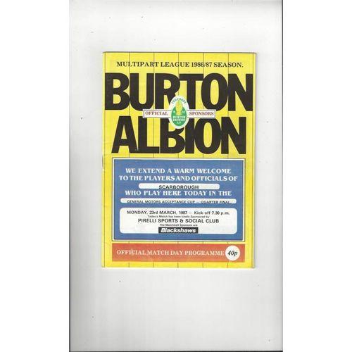 1986/87 Burton Albion v Scarborough GMA Cup Football Programme