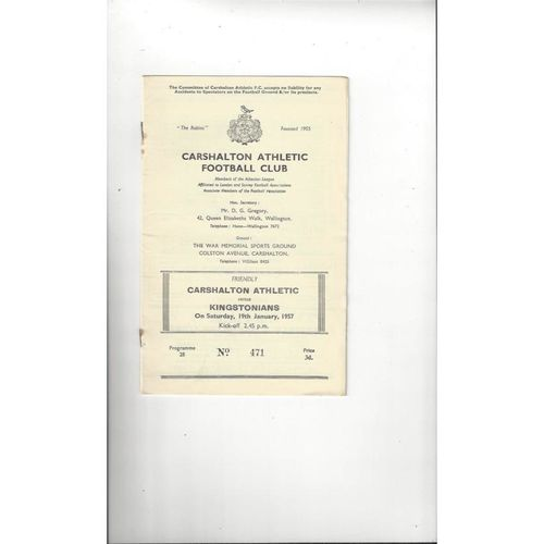 Carshalton Athletic v Kingstonians Friendly Football Programme 1956/57