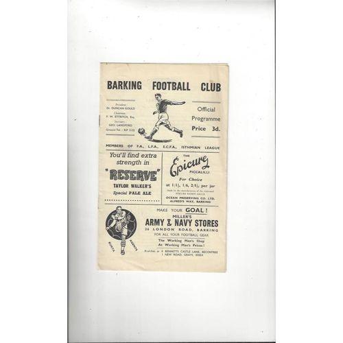 1956/57 Barking v Tilbury FA Cup Football Programme