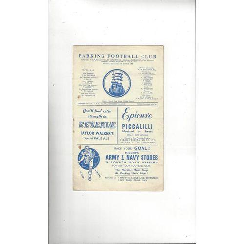 1958/59 Barking v Barkingside Amateur Cup Football Programme